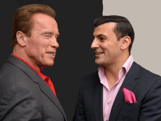 Arnold Schwarzenegger with Aaron Sansoni